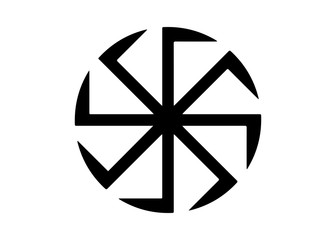 Kolovrat, the swastika or sauwastika is a geometrical figure and an ancient religious icon in the cultures of Eurasia. It is used as a symbol of divinity and spirituality in Indian religions. Isolated