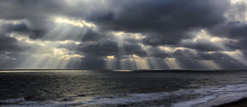 Sunbeams over ocean