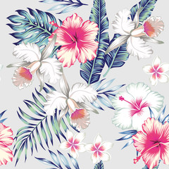 Wall Mural - hibiscus and orchids tropical seamless background
