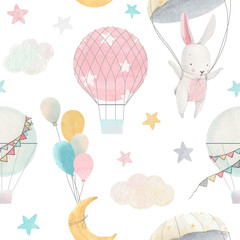 Watercolor cute baby pattern