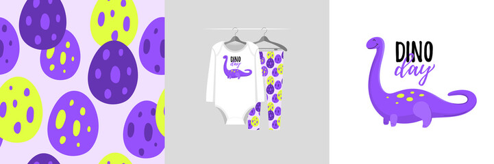 Wall Mural - Seamless pattern and illustration for kid with dinosaurs, text Dino day. Cute design on pajamas mockup. Baby background for clothes wear, room decor, t-shirt, baby shower invitation, wrapping