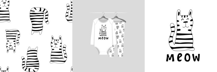 Wall Mural - Seamless pattern and illustration for kid with monochrome cat. Cute design on pajamas mockup. Baby background for clothes, room birthday decor, t-shirt print, kids wear fashion, baby shower invitation