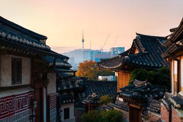 Bukchon Hanok Village during sunrise in Seoul, South Korea