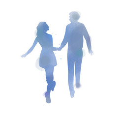 Young couple in love silhouette plus abstract watercolor. Valentine's day concept. Digital art painting.