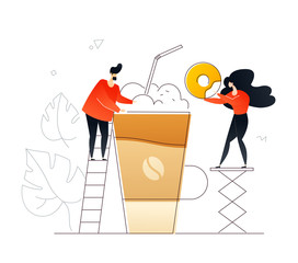 Coffee and dessert - flat design style colorful illustration