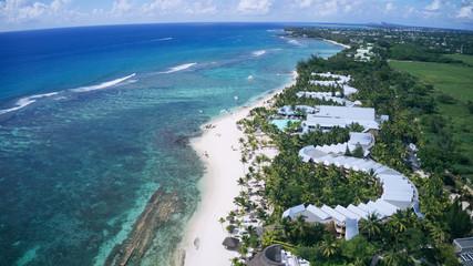 aerial view of a wonderful beach resort on Mauritius, Indian Ocean
