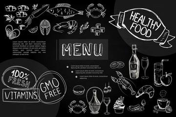 Hand Drawn Cafe Menu Composition
