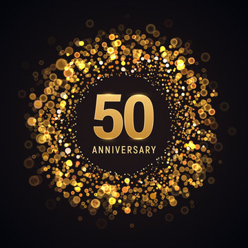 50 years anniversary isolated vector design element. Fifty birthday logo with blurred light effect on dark background