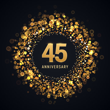 45 years anniversary isolated vector design element. Forty five birthday logo with blurred light effect on dark background