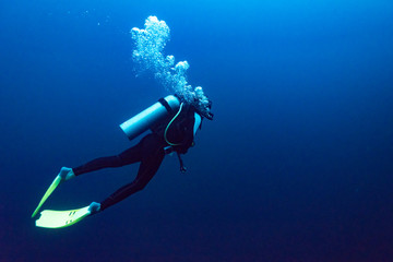 Scuba diver under water, The Great Blue Hole, Belize Barrier Reef, Lighthouse Reef, Belize