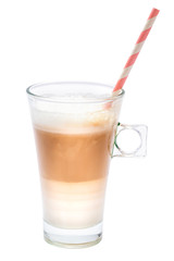 glass of fresh latte coffee isolated on white background with clipping path