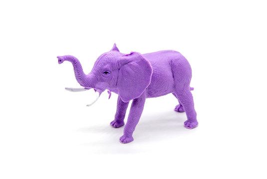 Purple plastic toy elephant on white background
