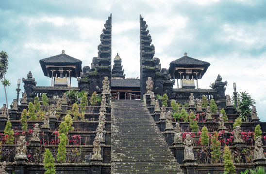 Stairs to Pura Agung Besakih temple by blue sky on Bali, Indonesia