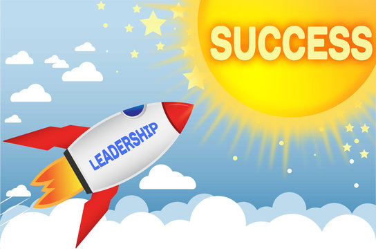 Leadership connects to success in business,work and life - symbolized by a cartoon style funny drawing with blue sky, yellow sun and red rocket, 3d illustration