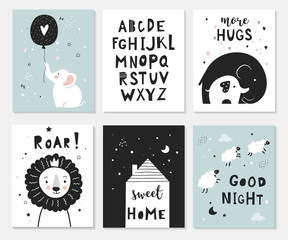 Little elephant, lion, lamb and alphabet,  posters for baby room, greeting cards, kids and baby t-shirts and wear.