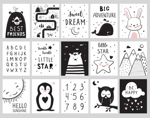 Nursery posters for baby room, cute animals, alphabet and quotes. Hand drawn vector illustration for prints, cards, t-shirts.