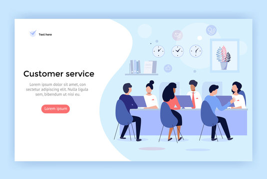 Customer service and advising clients concept illustration,  perfect for web design, banner, mobile app, landing page, vector flat design