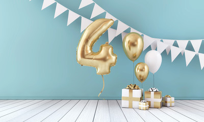 Happy 4th birthday party celebration balloon, bunting and gift box. 3D Render