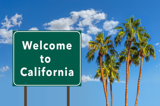 Welcome to California road sign with palm trees