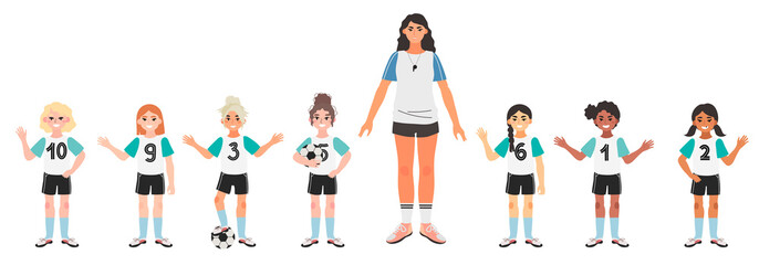 Vector illustration of a girl football or soccer team with their coach isolated on a white background.