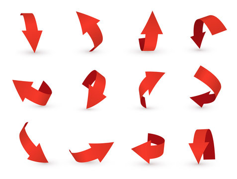 3d arrow icon, red pointer and direction