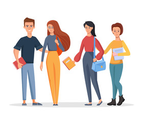 Group of young students holding bags and books. Vector character illustration in a cartoon style on a white background
