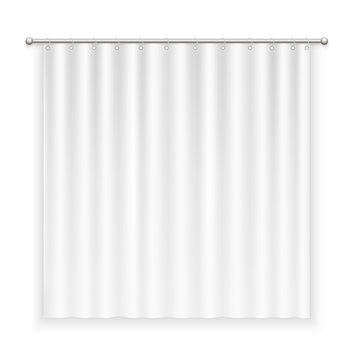 Blank white curtain with transparent shadow on white background.