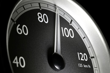 speedometer of a truck at cruising speed of 90 km/h