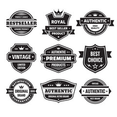 Business badges vector set in retro design style. Abstract logo. Premium quality. Satisfaction guaranteed. Vintage style. Genuine authentic product. Best seller. Original brand. Black and white colors