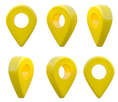 Map pointer icon. GPS location symbol. Pointer yellow pin marker for travel place. Location symbols set isolated on white background. 3D rendering illustration