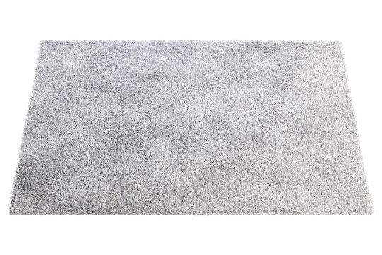 Modern light gray rug with high pile. 3d render
