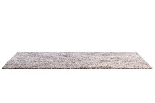 Modern light beige rug with high pile. 3d render
