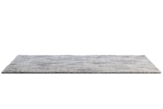 Modern gray rug with high pile. 3d render