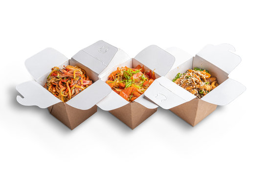 Variety of noodle in take away cardboard box
