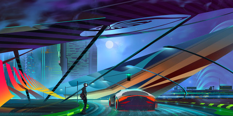 drawn night background fantastic cyberpunk cityscape with car