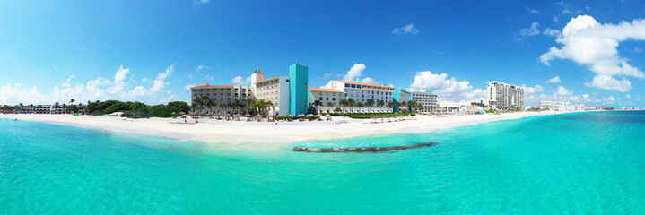 panoramic aerial view of a wonderful tropical exotic caribbean beach in Cancun, Mexico
