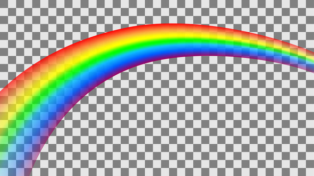 Transparent colorful rainbow in perspective. Vector illustration.