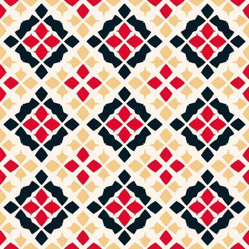 Vector geometric seamless pattern. Folk ornament. Red, black, beige and white