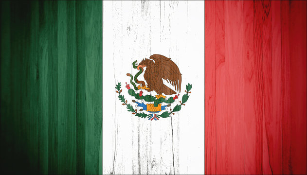 Flag of Mexico, wooden background, dirty.