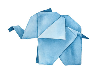 Walking Origami Elephant watercolour illustration. One single object, side view. Sign of wisdom, patience, strength. Handmade water color graphic painting, cutout clipart element for creative design.