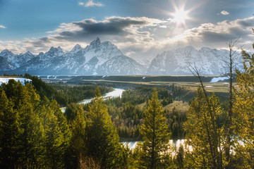 The Snake River Overlook looks over Schwabacher's Landing and Snake River, the Grand Teton moutain range in the distance. Taken sunset in mid-May in Grand Teton National Park.