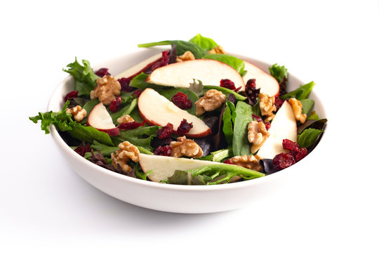 Cranberry Walnut and Apple Salad on a Bed of Mixed Greens