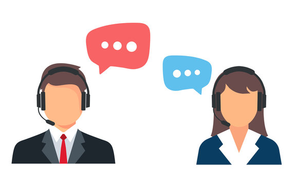 Call center. Help, Support and Contact. Customer Service Icon. Male and female call center working in headphones. Customer service character.
