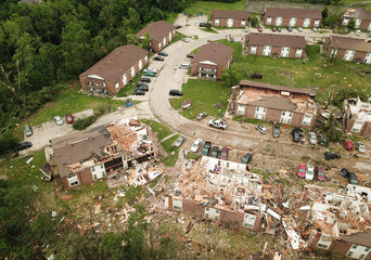 Debris from destroyed homes after a tornado touched down in Jefferson City