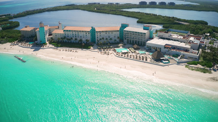 aerial view of a wonderful caribbean tropical exotic beach resort in Cancun, Mexico