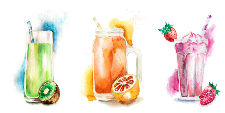 Fruit smoothies or milkshakes decorated with fruit isolated on white watercolor illustration