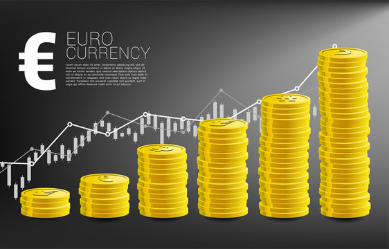 growth graph with stack of coin euro currency and good business chart background. Concept of success investment and growth in business