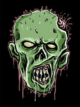 illustration of skull zombie