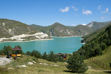 Aluminium Prints New Zealand Panoramic view to the landscape with Lake Kezenoyam in Caucasus Mountains in Chechnya, Russia.