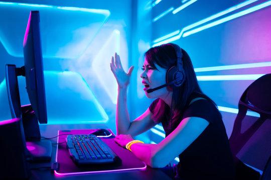 Asian girl cyber sport gamer